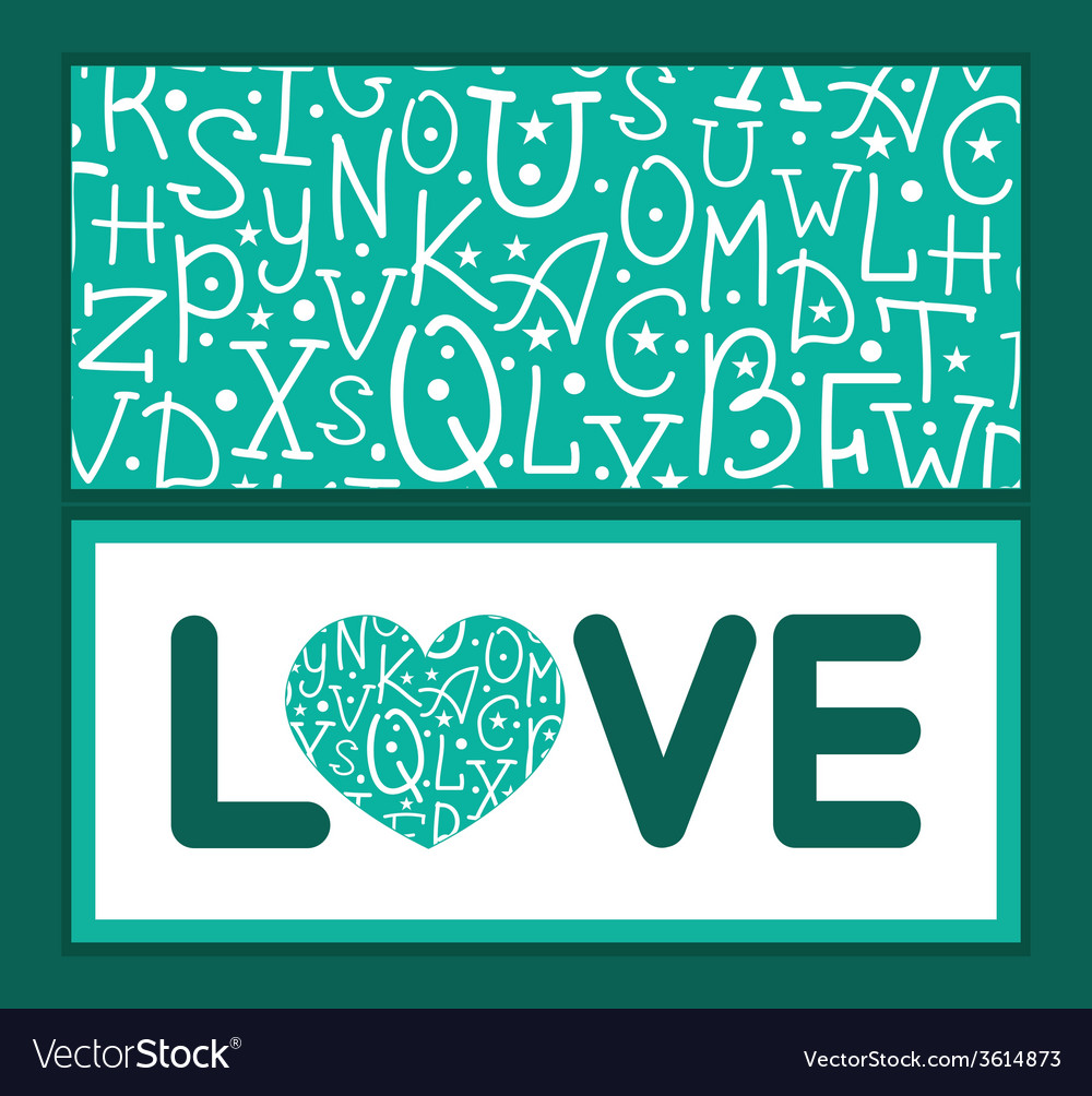 White on green alphabet letters love text frame vector | Price: 1 Credit (USD $1)