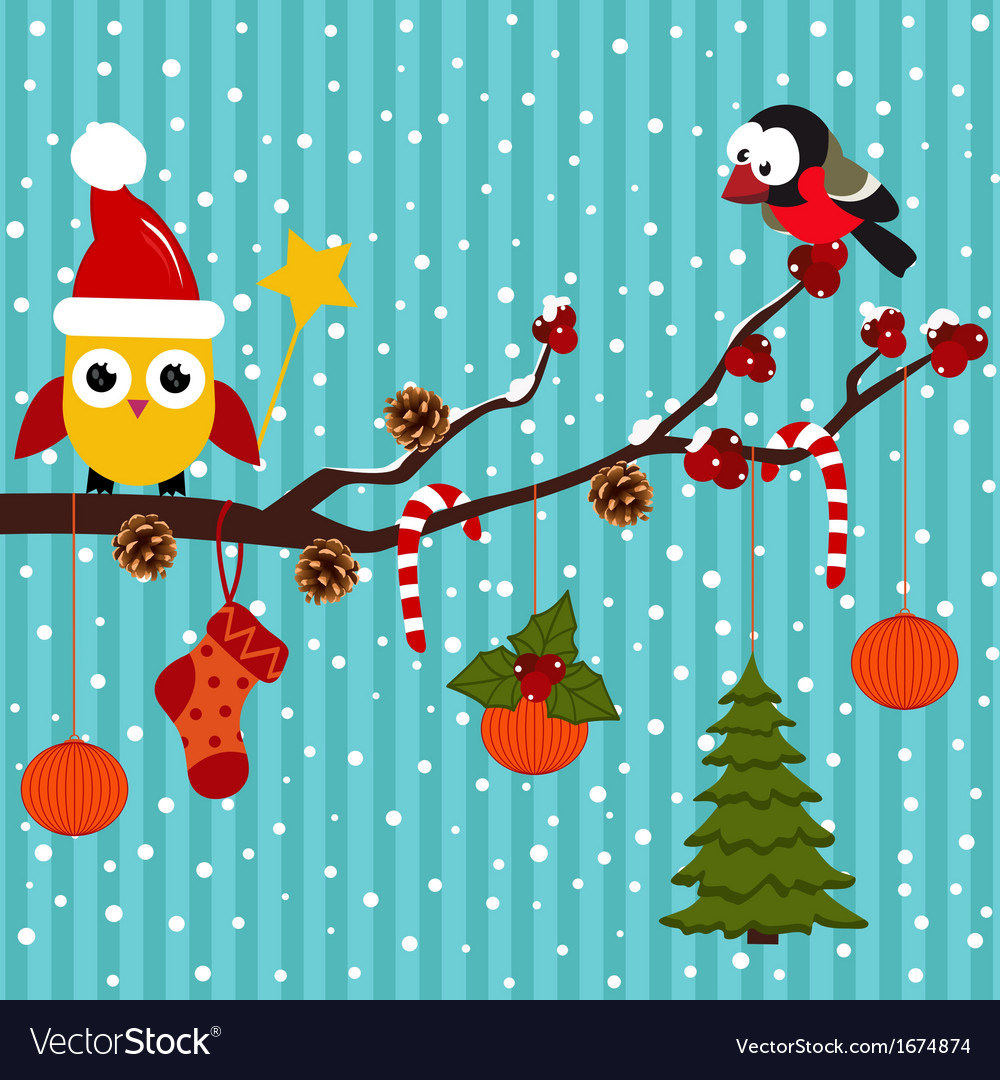 Birds are celebrating christmas in the forest vector | Price: 1 Credit (USD $1)