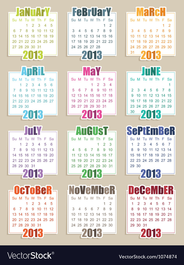 Calender for 2013 vector | Price: 1 Credit (USD $1)