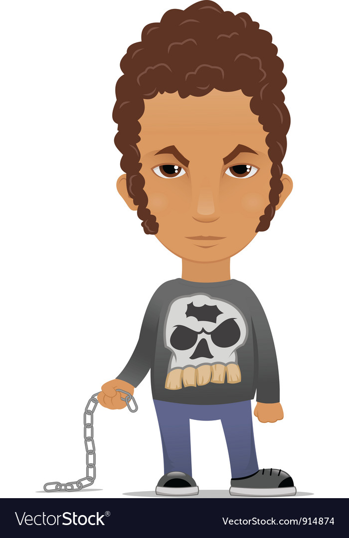 Cartoon hooligan with a chain vector | Price: 3 Credit (USD $3)