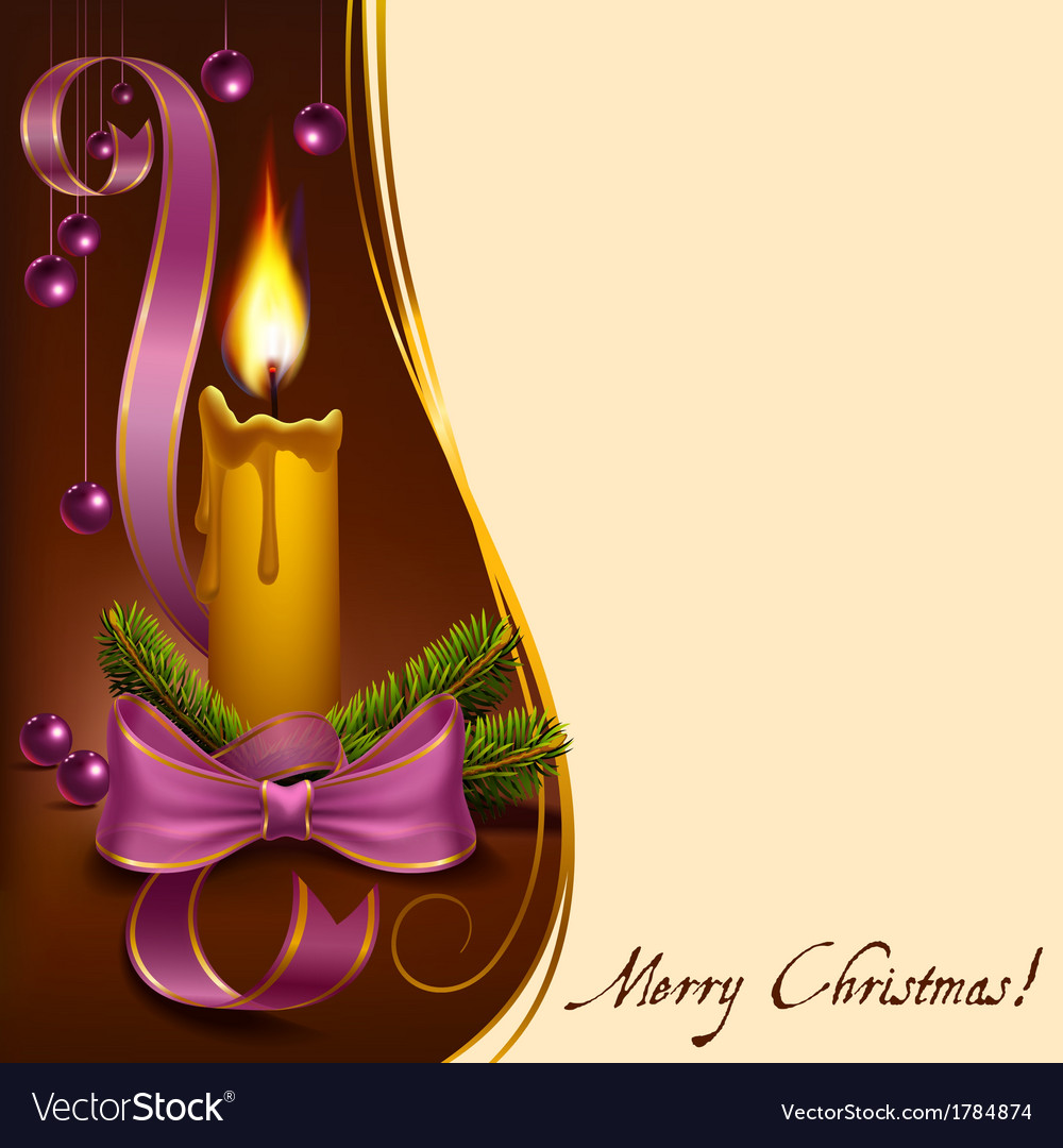 Christmas lighted candle with beads vector | Price: 1 Credit (USD $1)