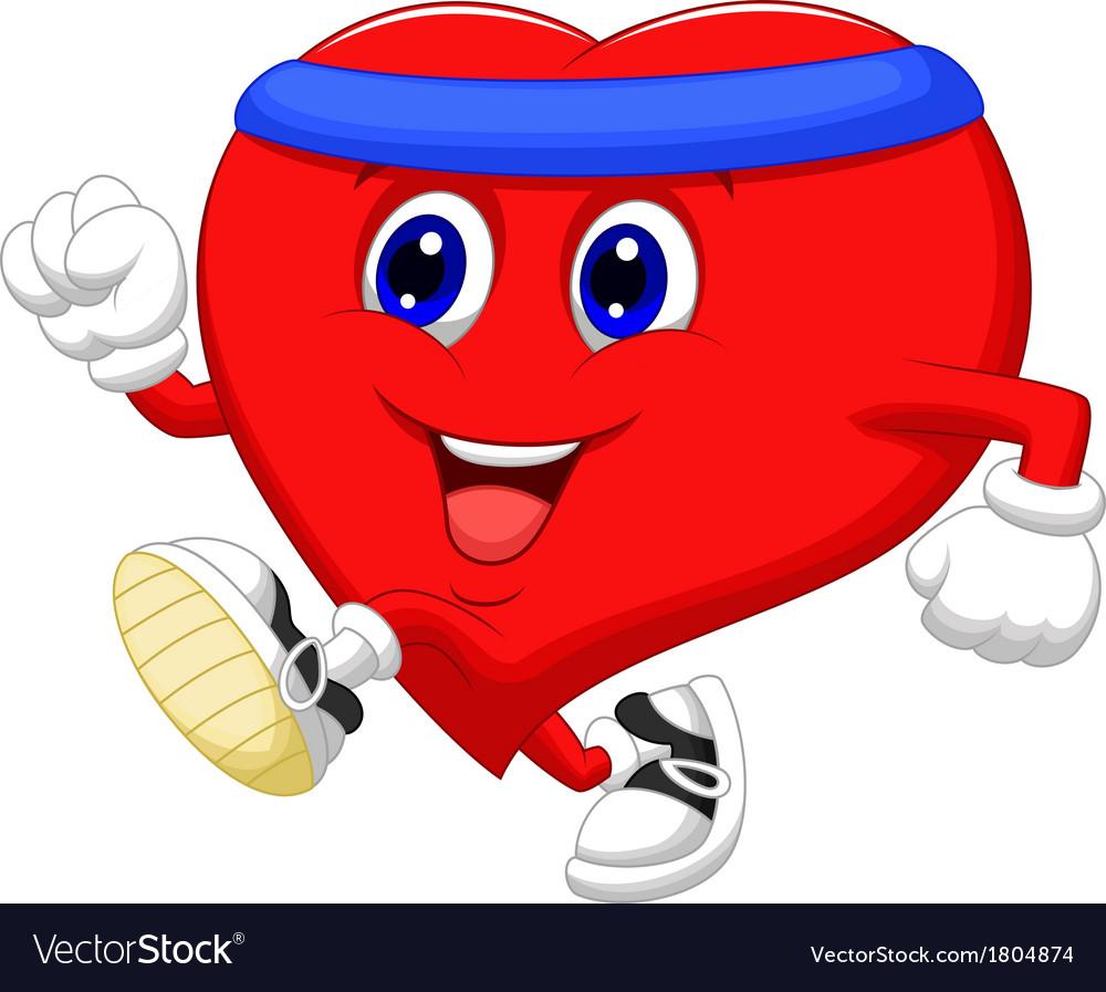 Heart cartoon running to keep healthy vector | Price: 1 Credit (USD $1)