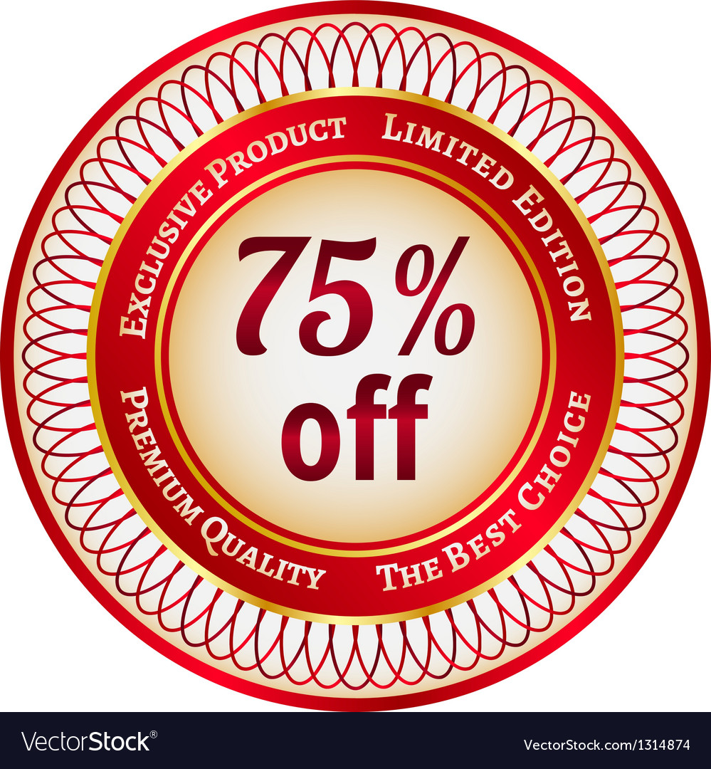 Label on 75 percent discount vector | Price: 1 Credit (USD $1)