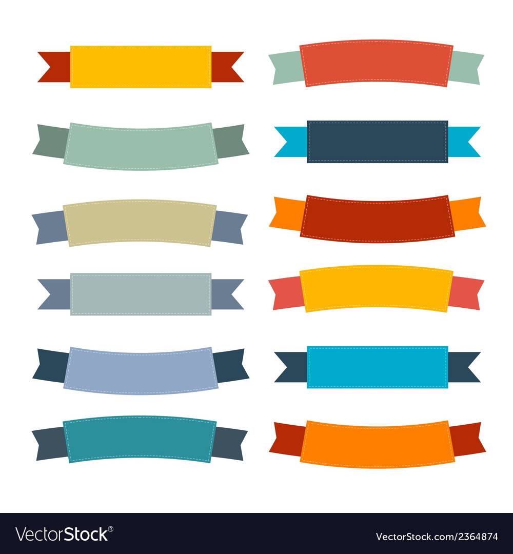 Labels tags ribbons set in retro colors vector | Price: 1 Credit (USD $1)