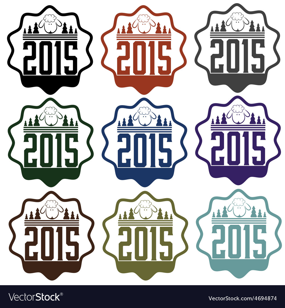 New year labels with sheep vector | Price: 1 Credit (USD $1)