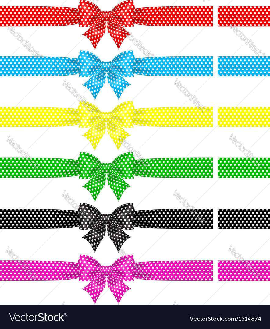 Polka dot bows with ribbons vector | Price: 1 Credit (USD $1)