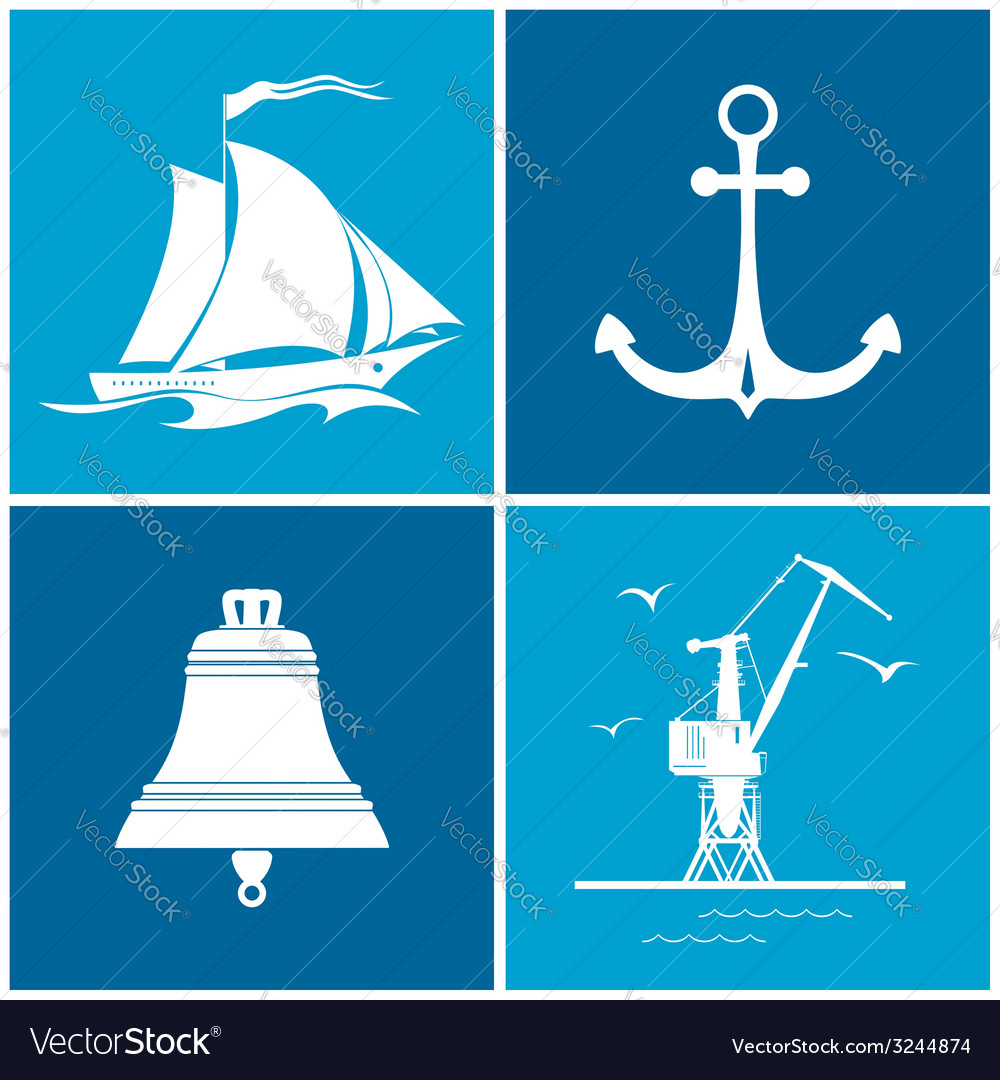 Set of maritime icons vector   Price: 1 Credit (USD $1)