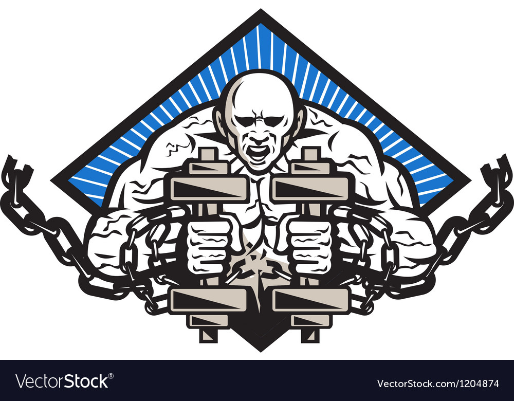 Strongman with dumbbell in chains vector | Price: 3 Credit (USD $3)