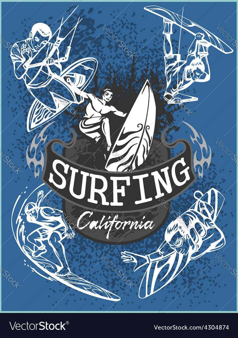 Surfing - set label and elements vector | Price: 3 Credit (USD $3)