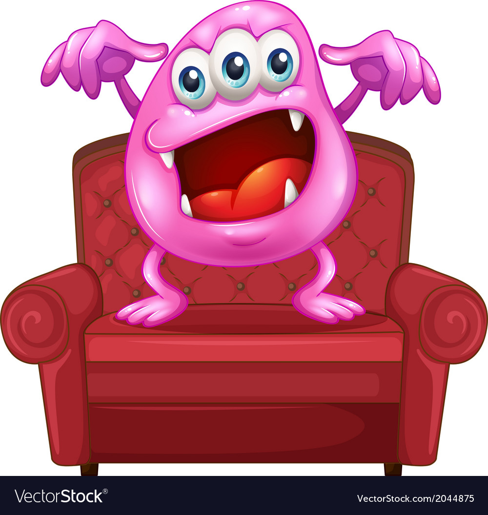 A chair with a pink monster vector | Price: 1 Credit (USD $1)