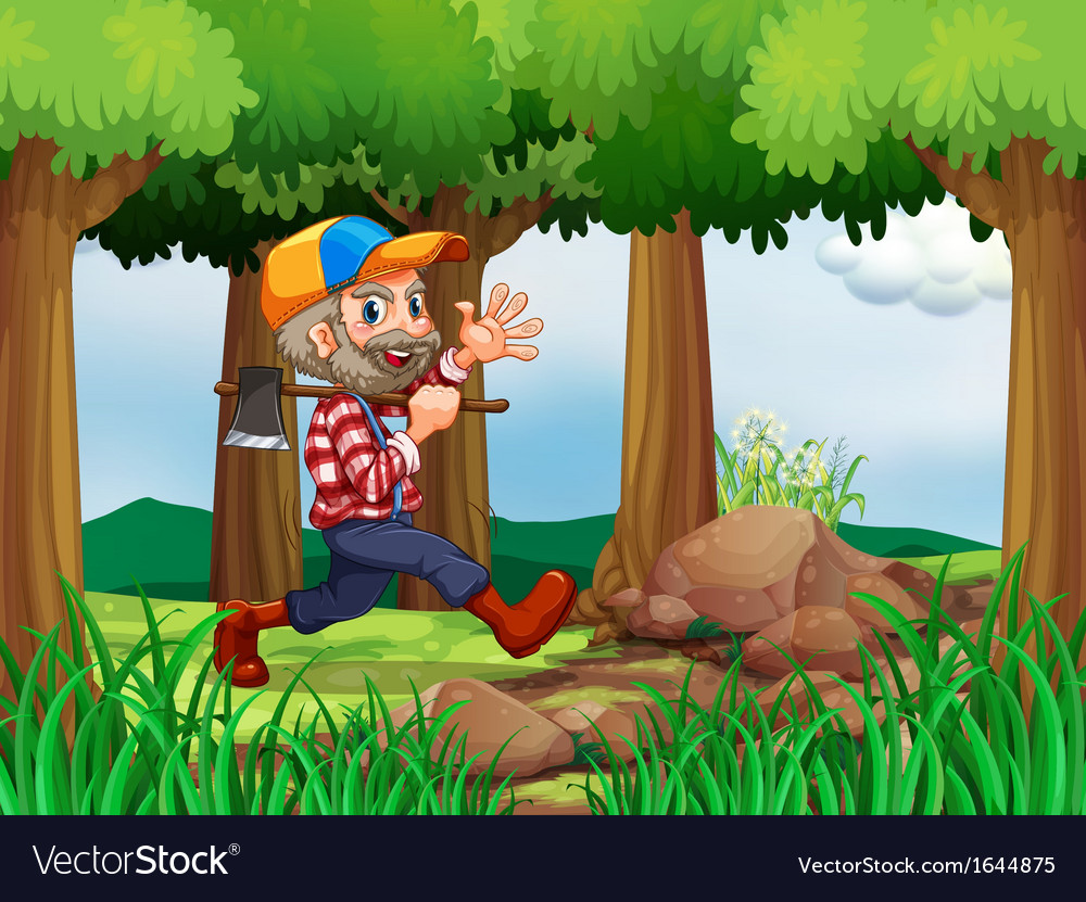 A forest with a cheerful woodman vector | Price: 3 Credit (USD $3)