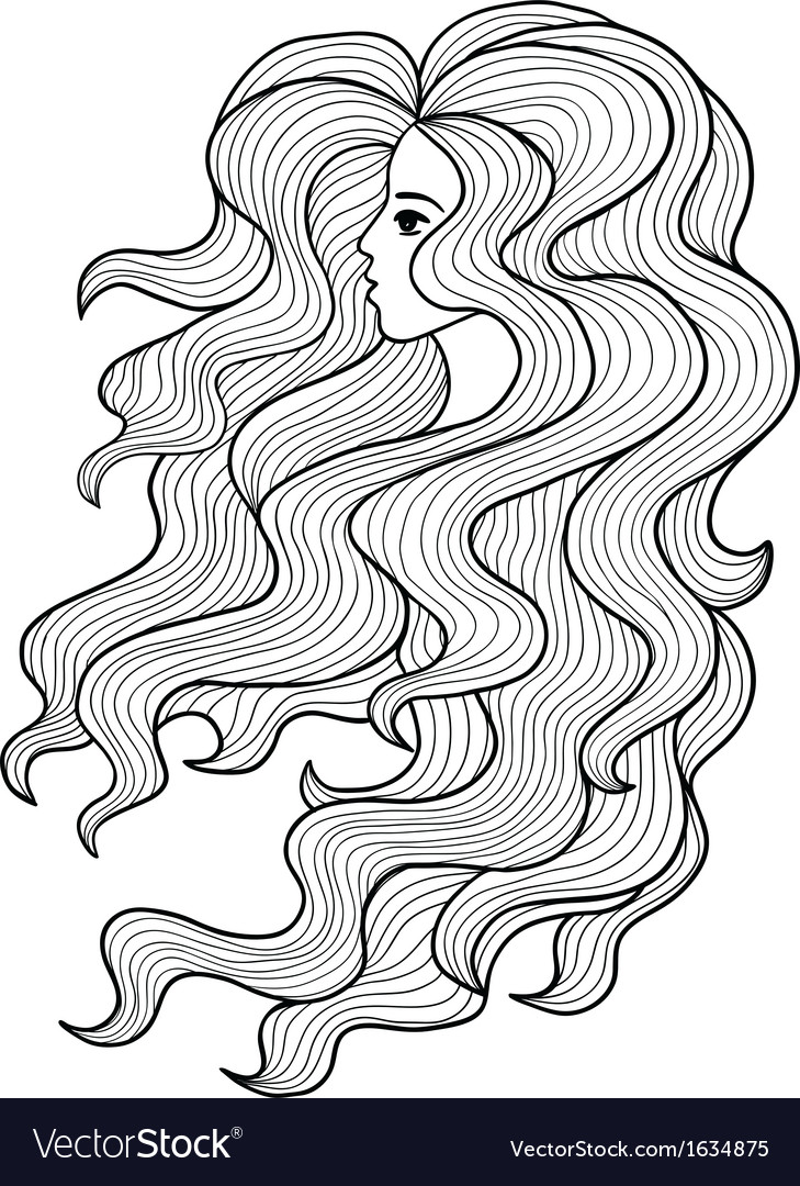 Black and white girl with long curly hair vector | Price: 1 Credit (USD $1)