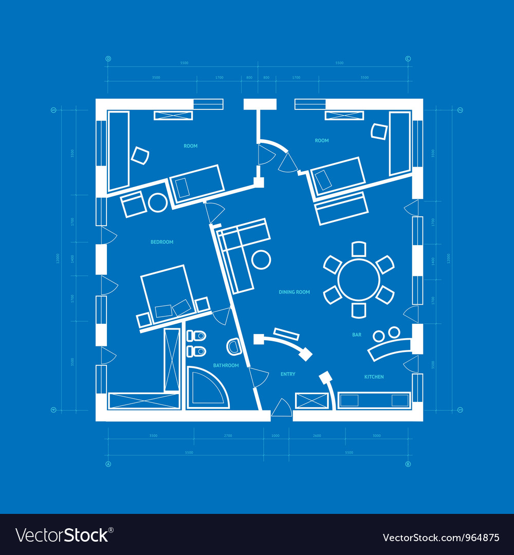 Blueprint of apartment vector | Price: 1 Credit (USD $1)