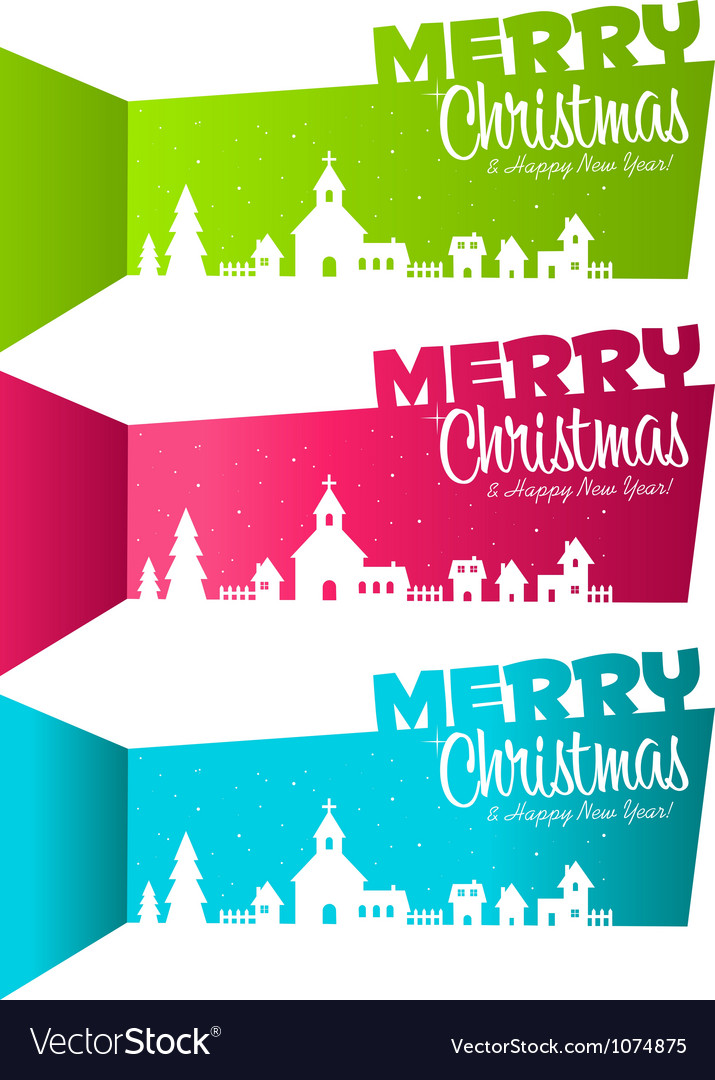 Christmas banners village vector | Price: 1 Credit (USD $1)