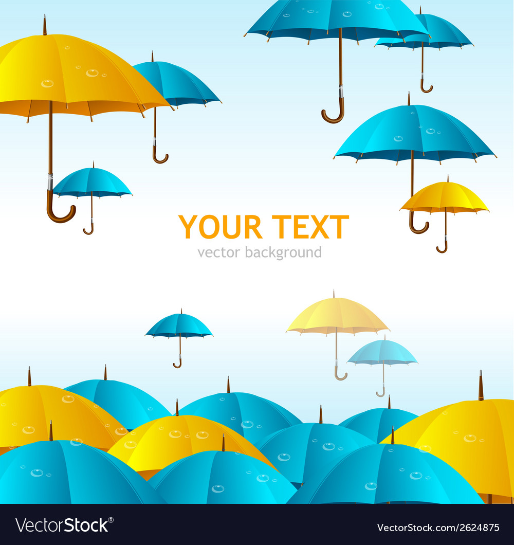 Colorful yellow and blue umbrellas flying vector | Price: 1 Credit (USD $1)