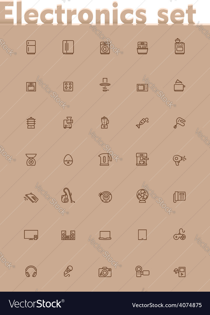 Domestic electronics icon set vector | Price: 1 Credit (USD $1)