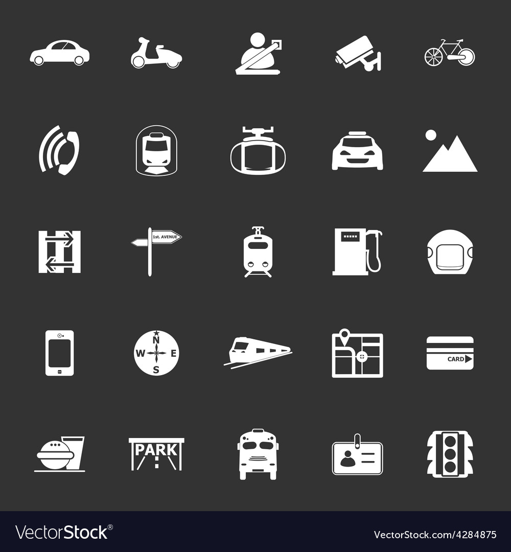 Land transport related icons on gray background vector | Price: 1 Credit (USD $1)