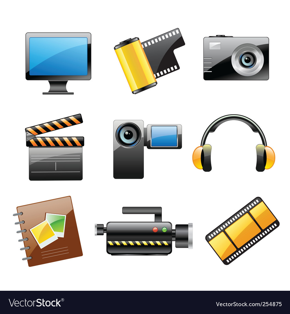 Photo and video icon set vector | Price: 3 Credit (USD $3)