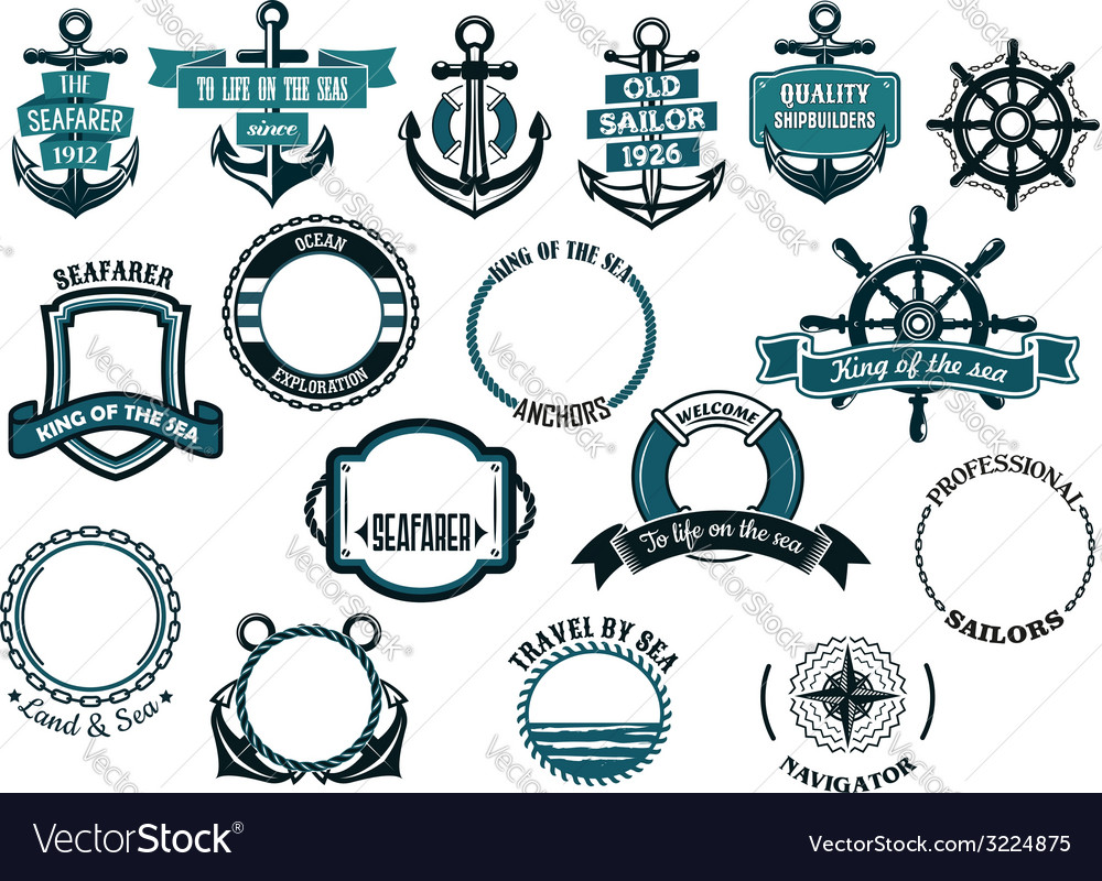 Set of nautical or marine themed icons and frames vector | Price: 1 Credit (USD $1)