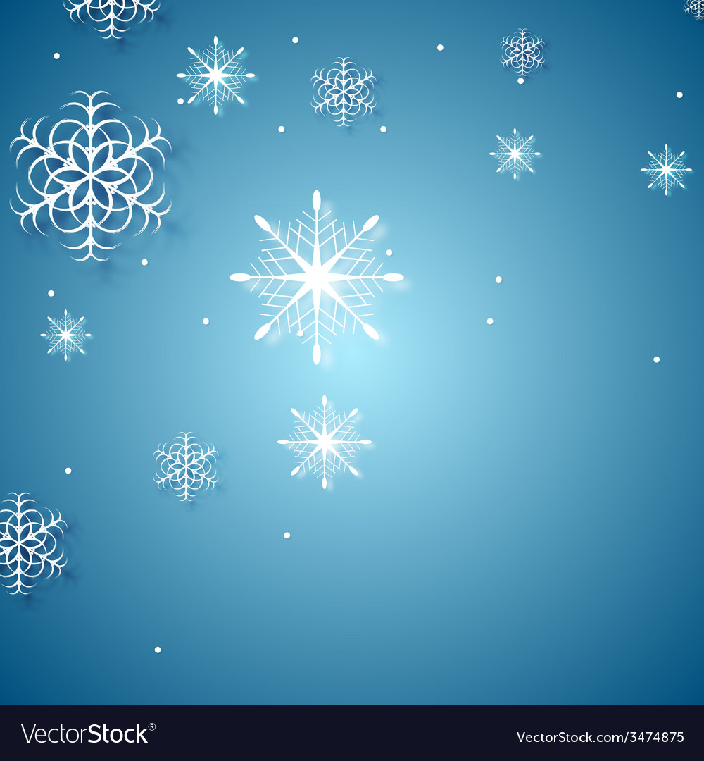 White snowflakes on blue background vector | Price: 1 Credit (USD $1)