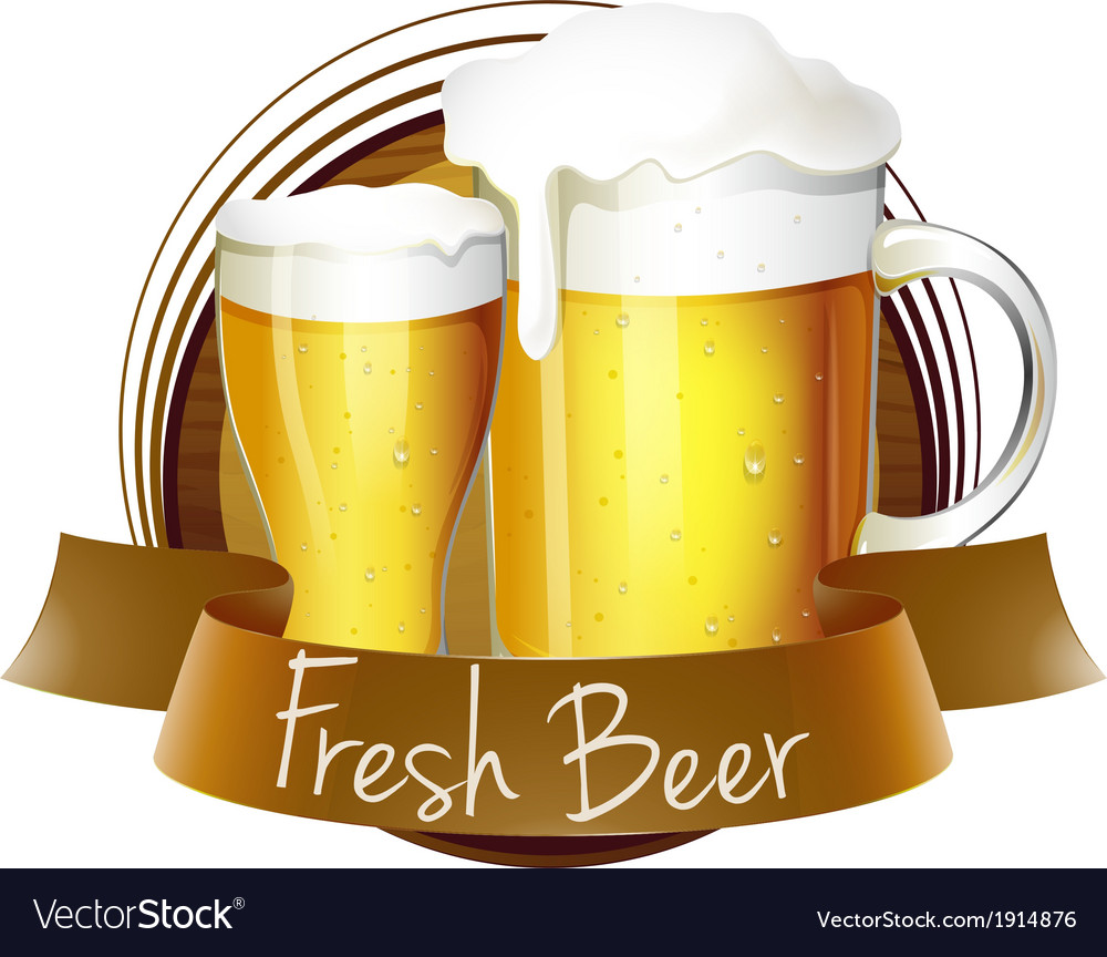 A fresh beer label with a pitcher and a glass of vector | Price: 1 Credit (USD $1)
