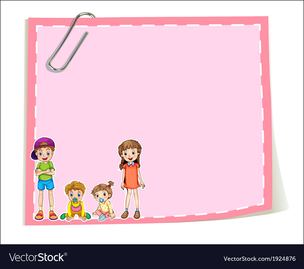 An empty paper templates with children vector | Price: 1 Credit (USD $1)