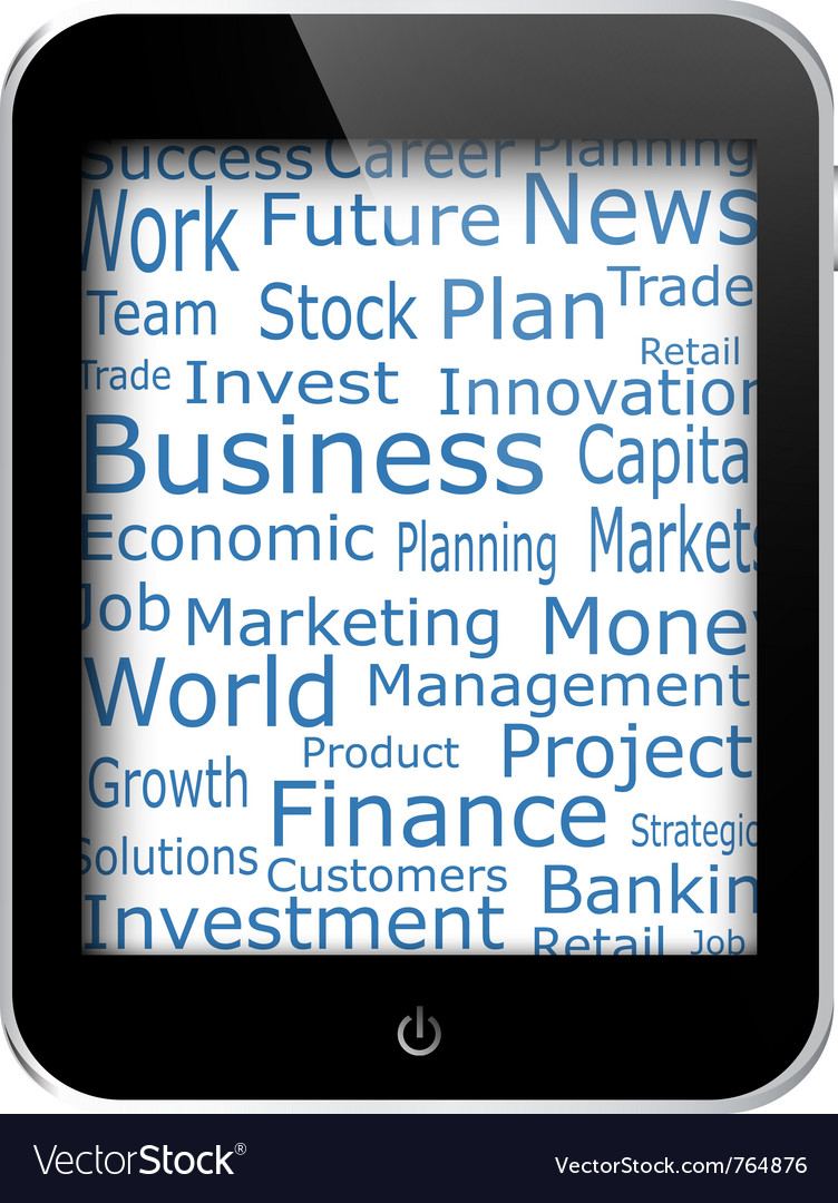 Business words on tablet vector | Price: 1 Credit (USD $1)