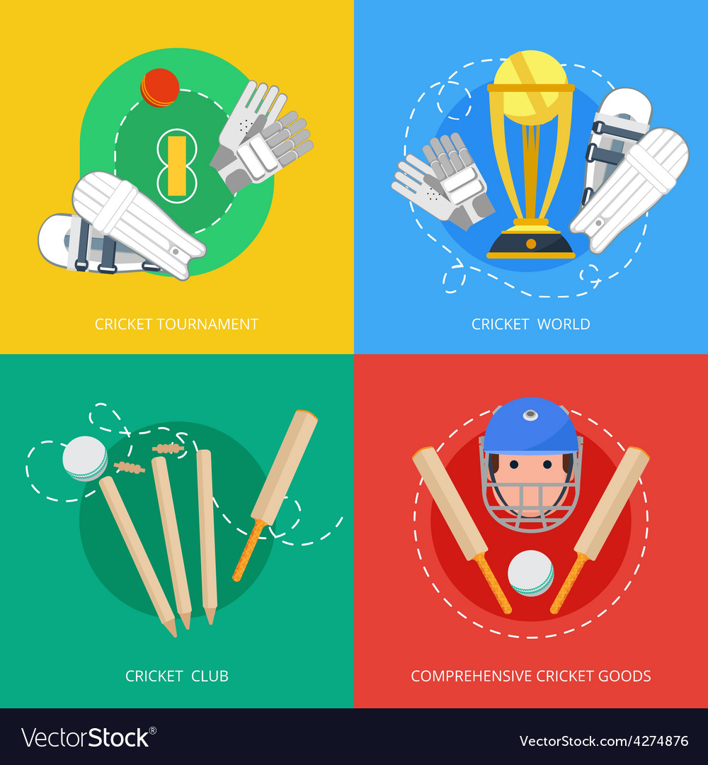 Cricket 4 flat icons composition vector | Price: 1 Credit (USD $1)