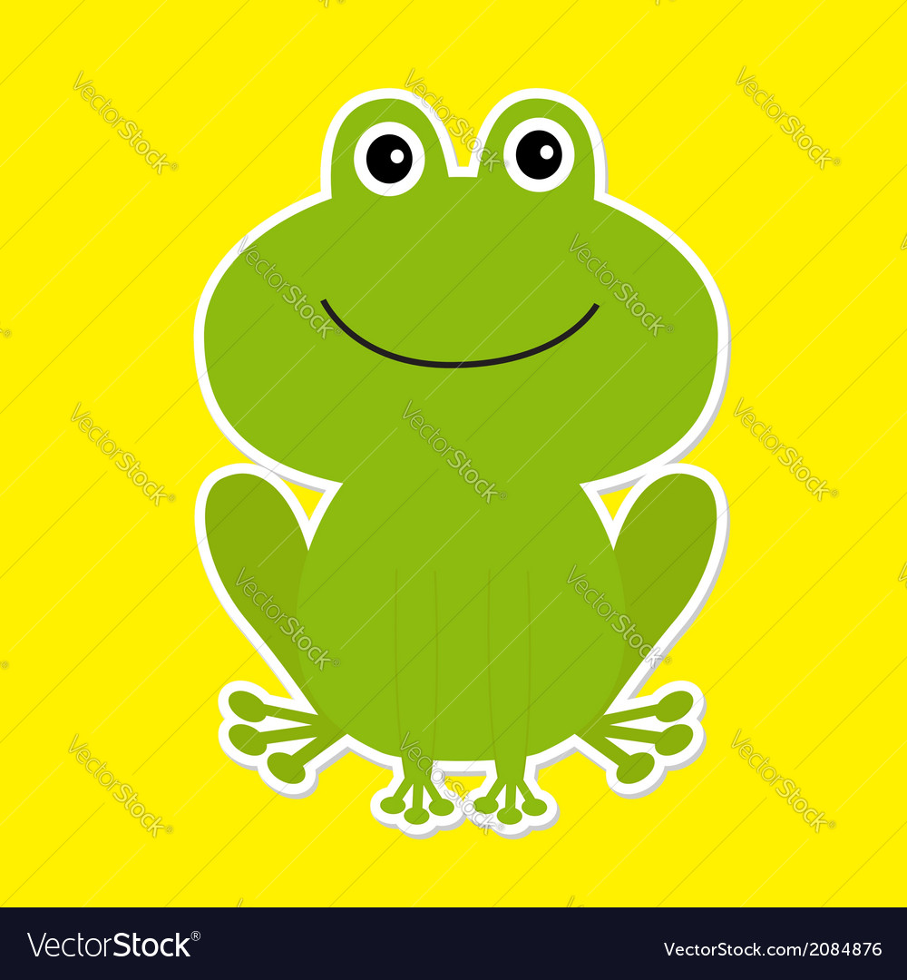 Cute green cartoon frog white background vector | Price: 1 Credit (USD $1)