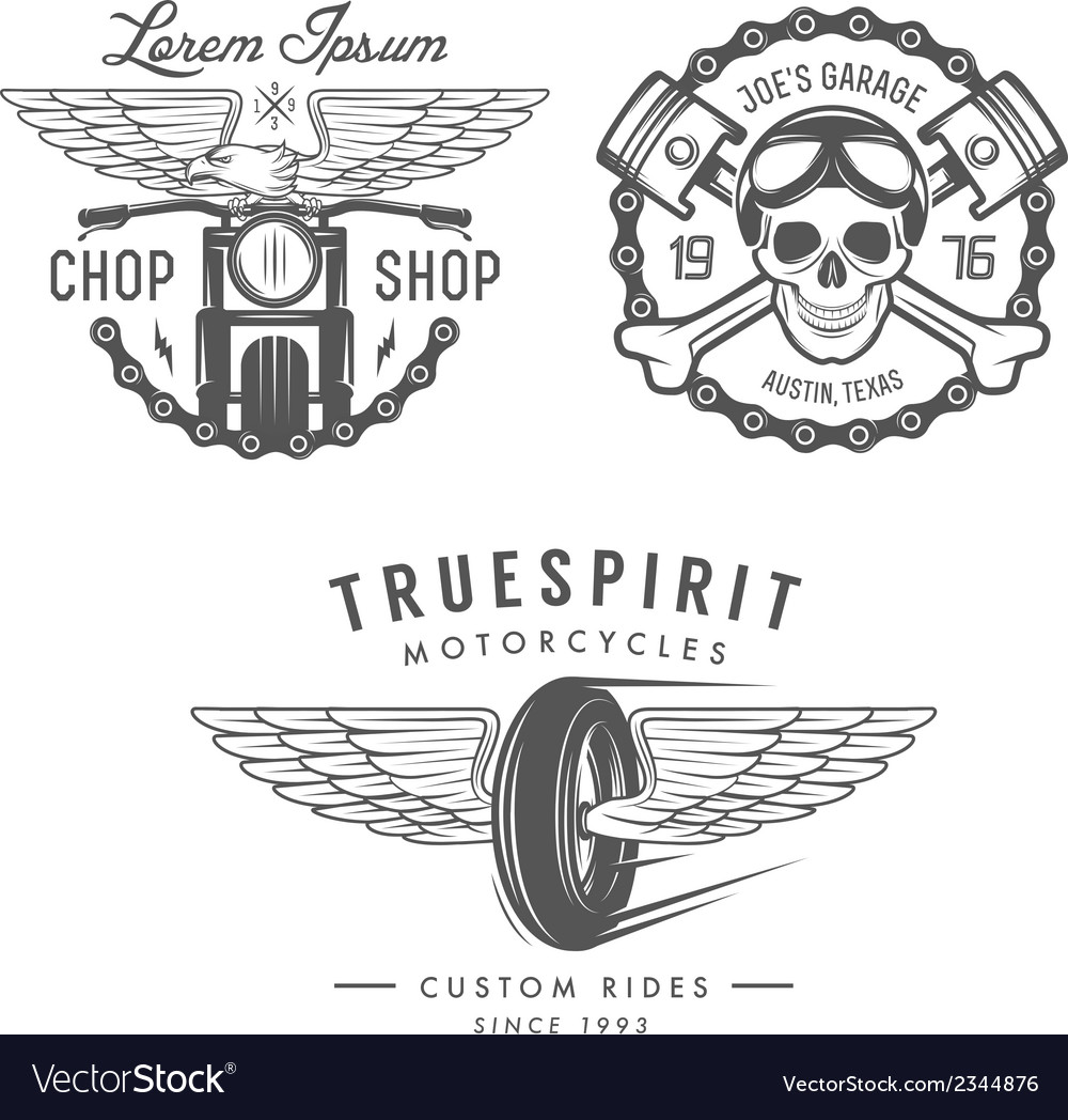 Set of vintage motorcycle design elements vector | Price: 1 Credit (USD $1)