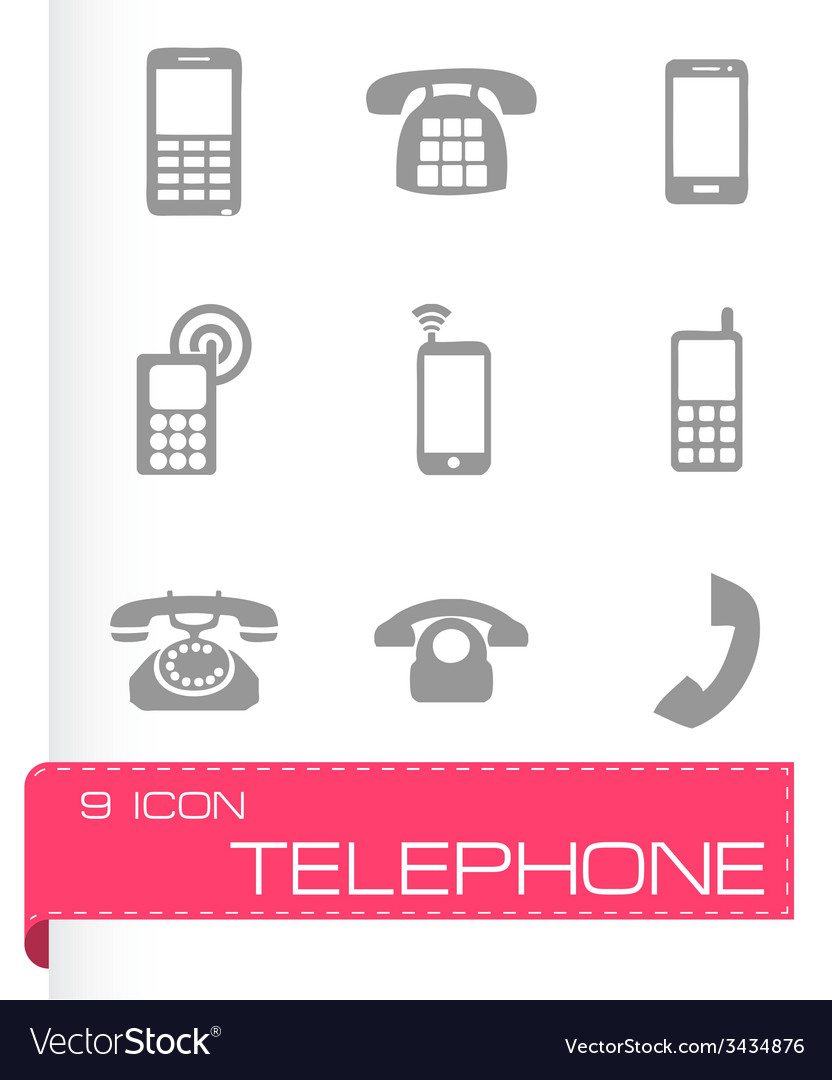 Telephone icons set vector | Price: 1 Credit (USD $1)
