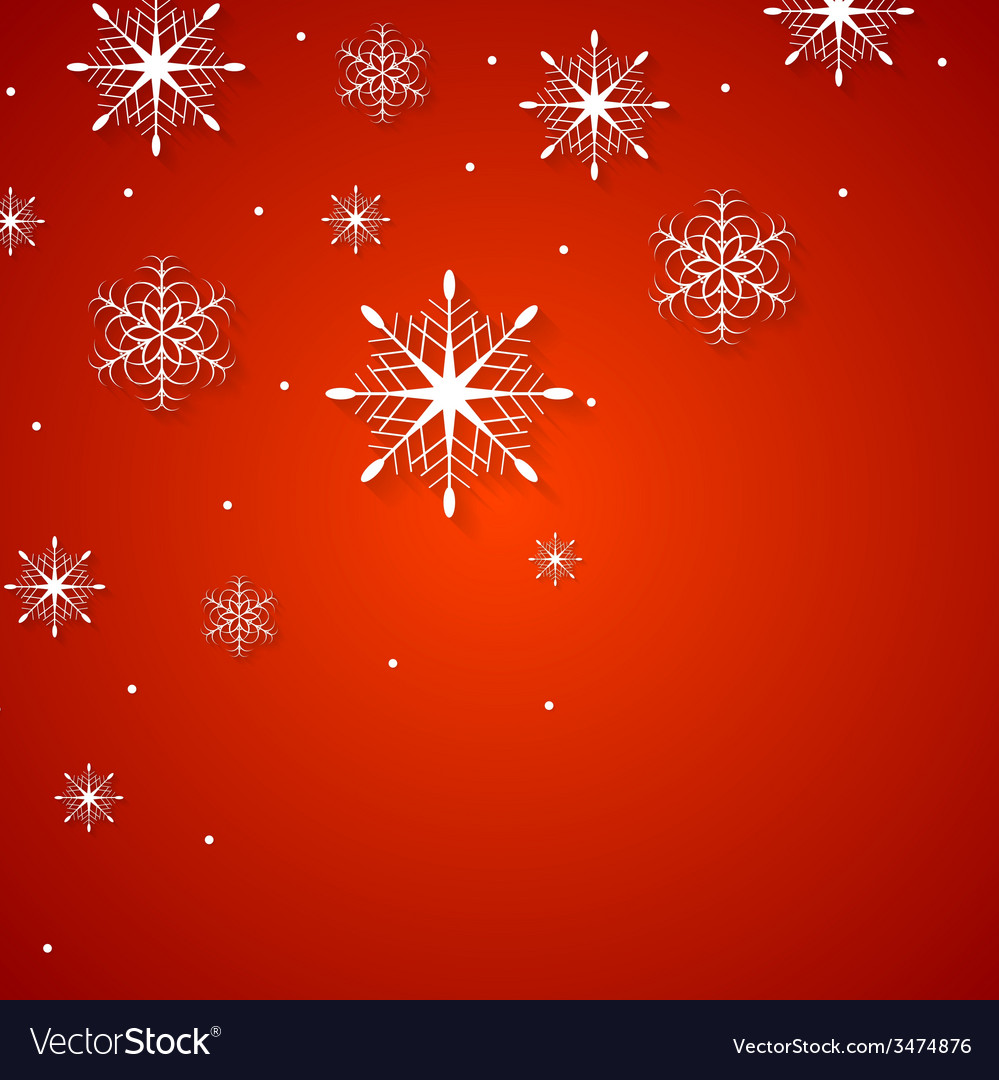 White snowflakes on red background vector | Price: 1 Credit (USD $1)
