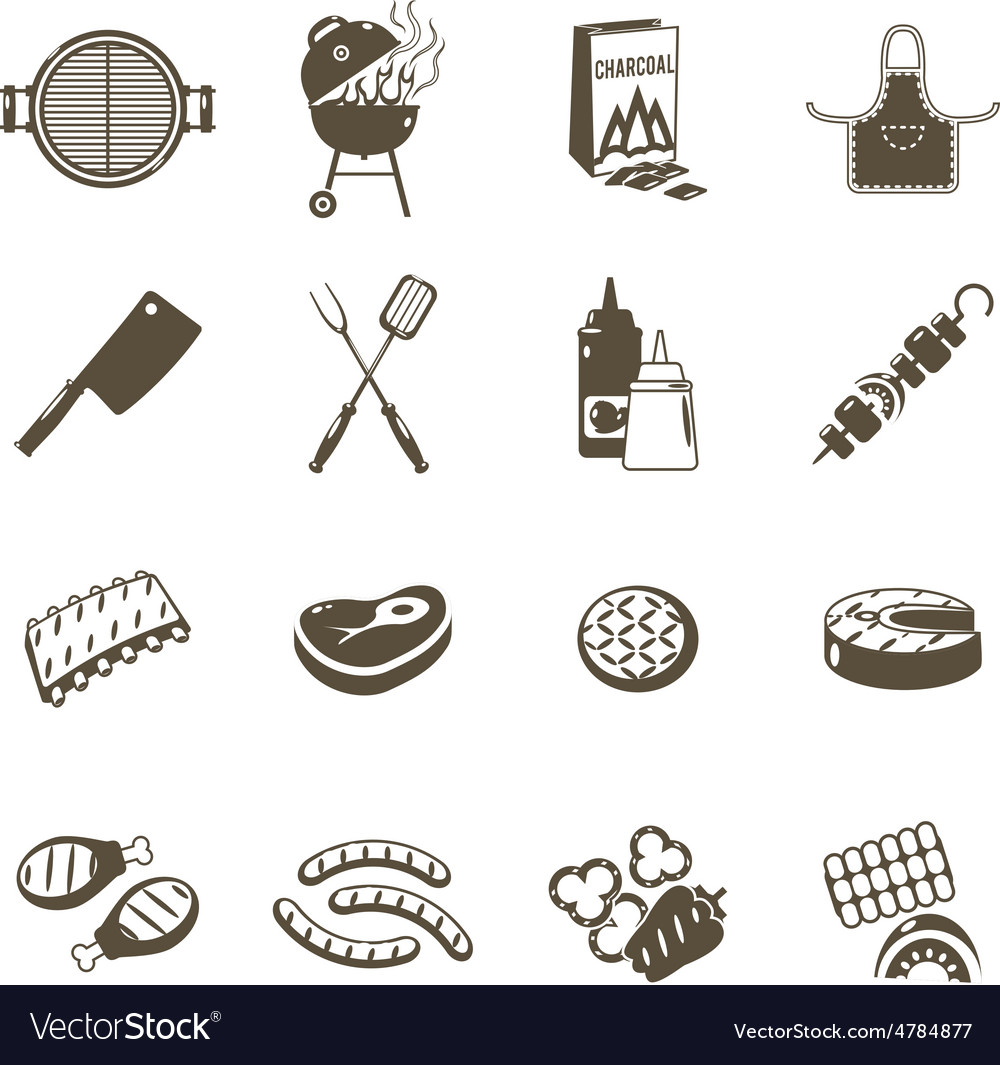 Barbecue and grill icons black set vector