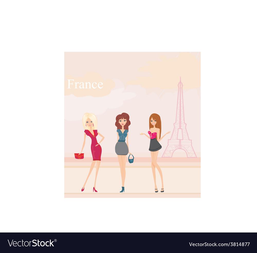 Beautiful girls shopping in paris vector | Price: 1 Credit (USD $1)