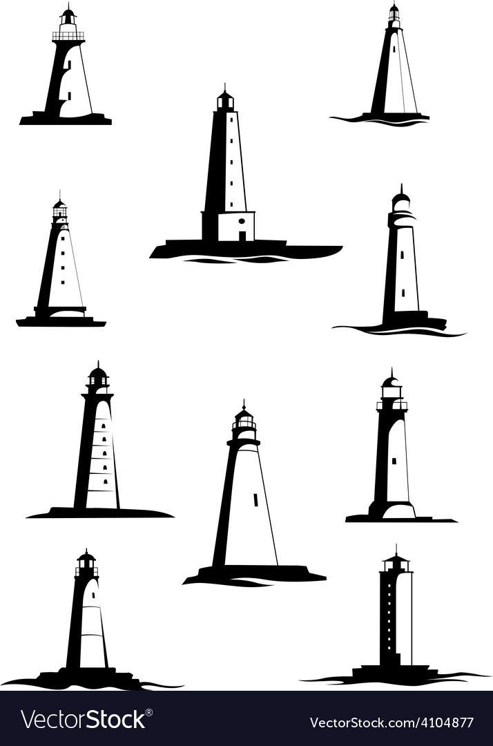 Black and white old lighthouses isolated on white vector | Price: 1 Credit (USD $1)