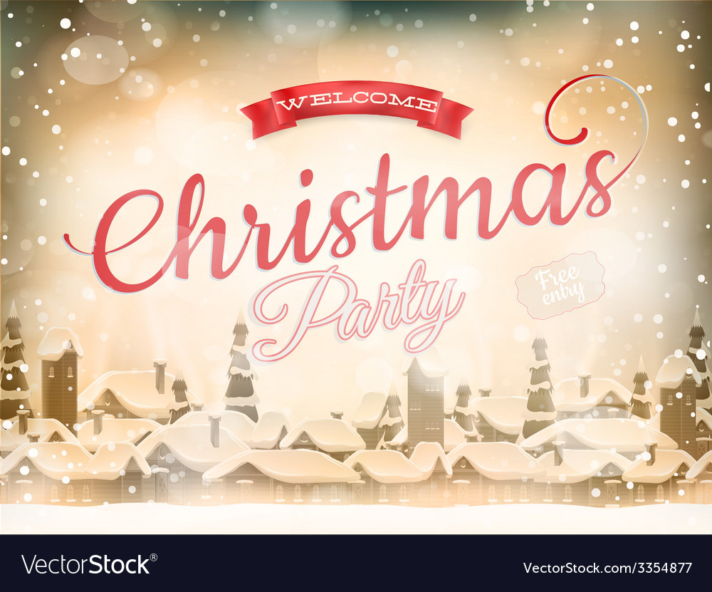Christmas landscape poster eps 10 vector | Price: 1 Credit (USD $1)