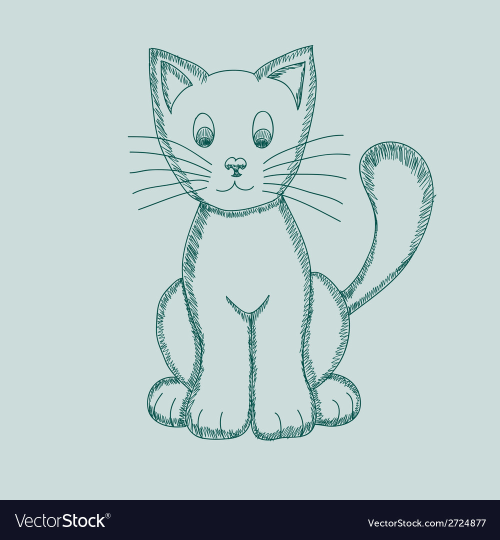 Cute pseudo-pencil drawing cat vector | Price: 1 Credit (USD $1)