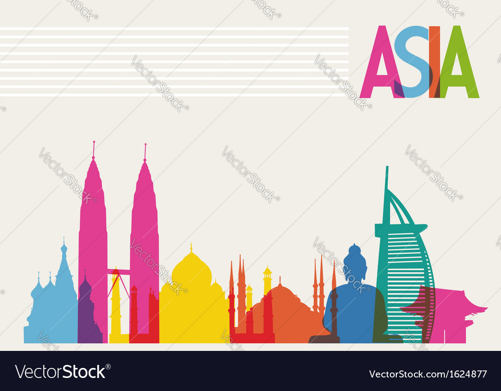 Diversity monuments of asia famous landmark colors vector | Price: 1 Credit (USD $1)