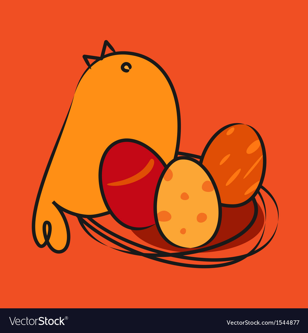 Easter card bird with egg vector   Price: 1 Credit (USD $1)