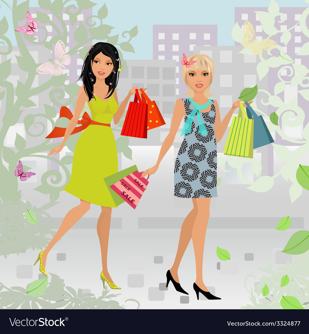 Fashion young women with purchase in city for your vector | Price: 1 Credit (USD $1)