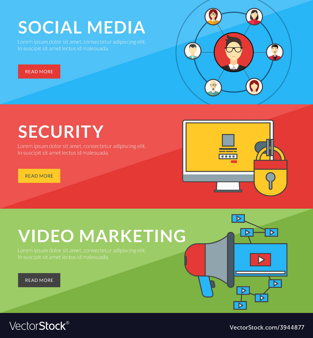 Flat design concept for social media security vector | Price: 1 Credit (USD $1)