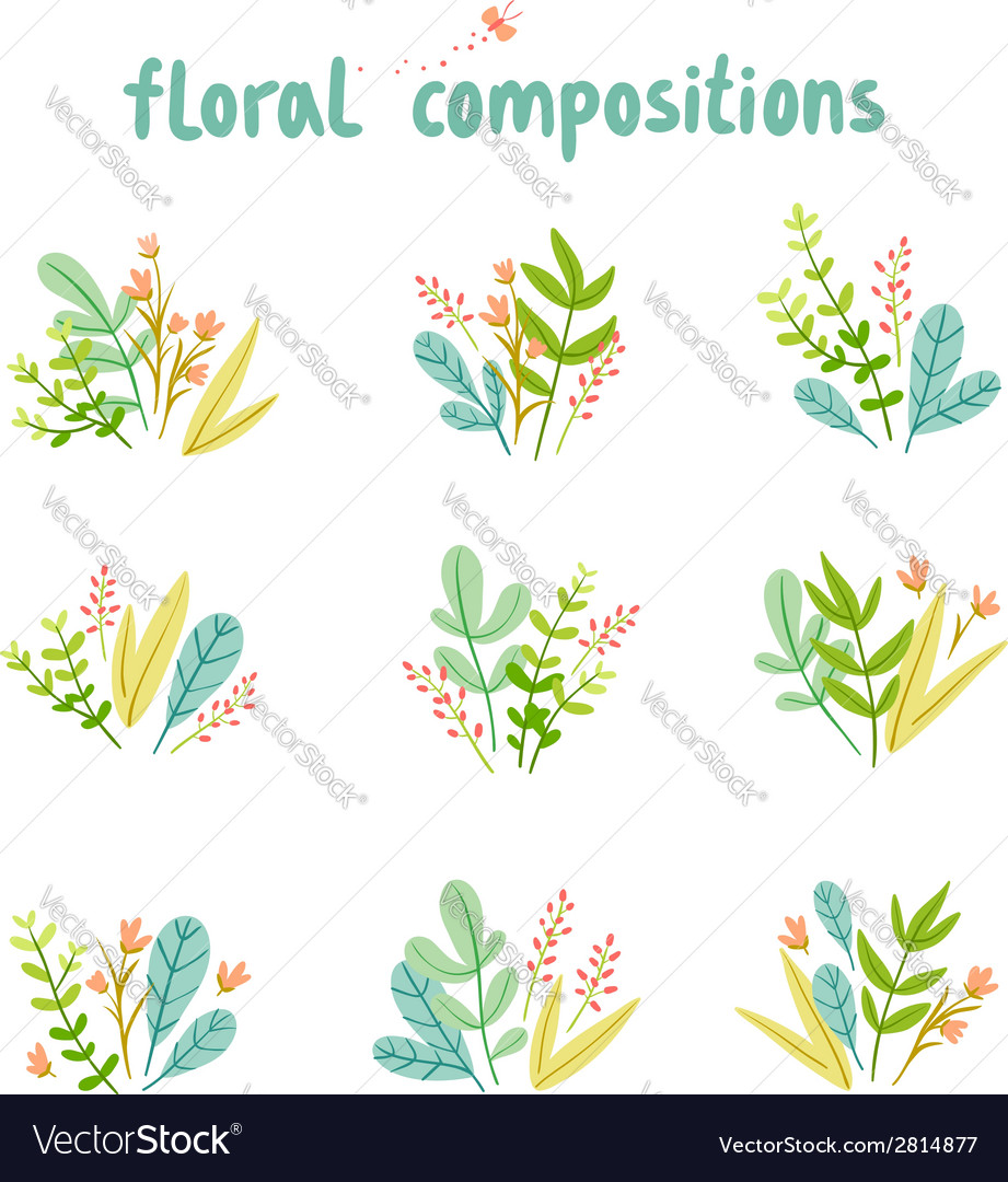 Flowers and leaves compositions collection vector | Price: 1 Credit (USD $1)