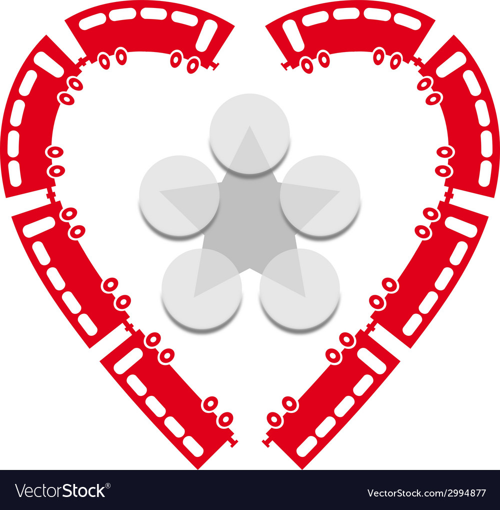 Heart shaped trains vector | Price: 1 Credit (USD $1)