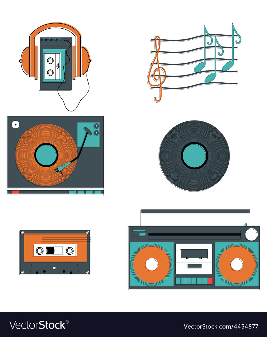 Music players and components vector | Price: 1 Credit (USD $1)