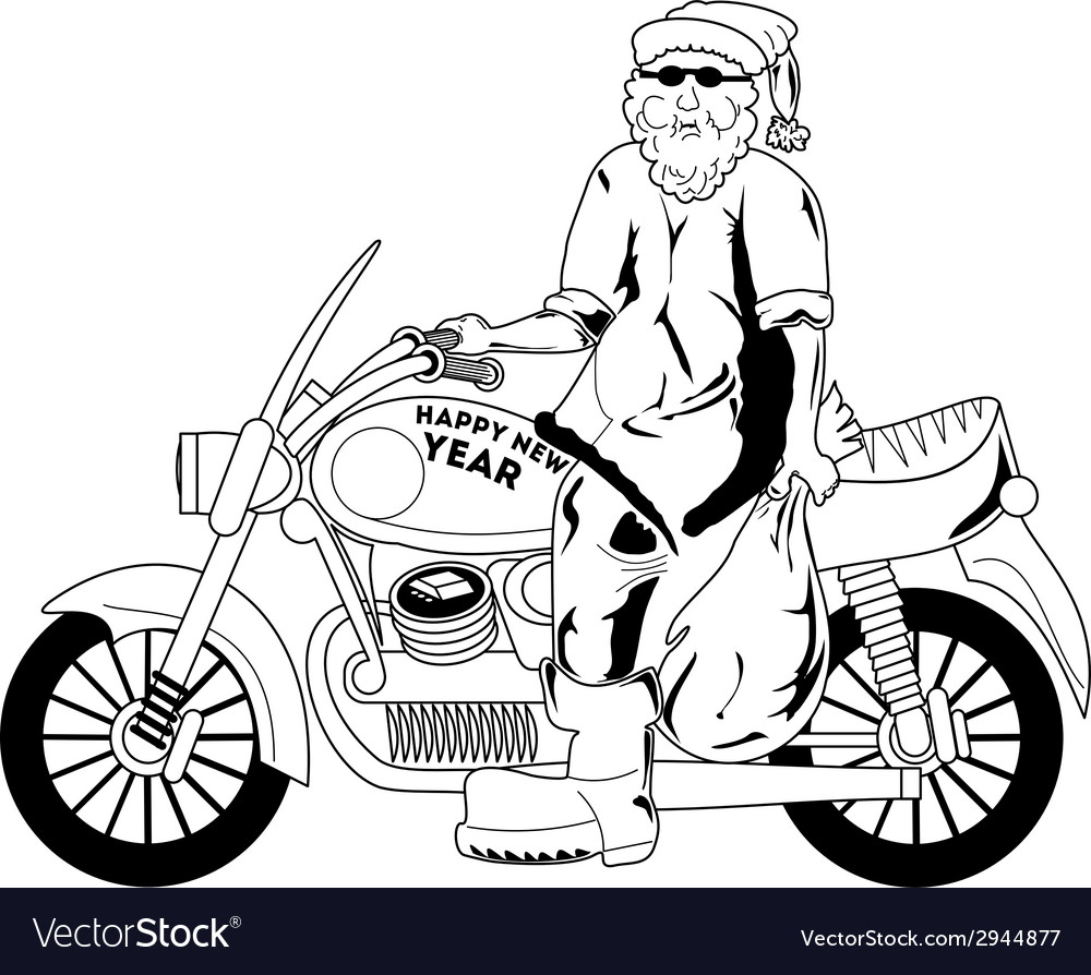 Santa with motorcycle vector | Price: 1 Credit (USD $1)