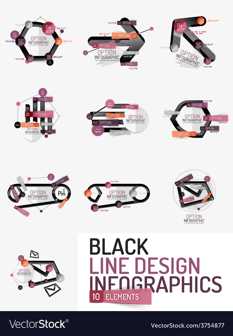 Set of minimal line design office web infographics vector | Price: 1 Credit (USD $1)