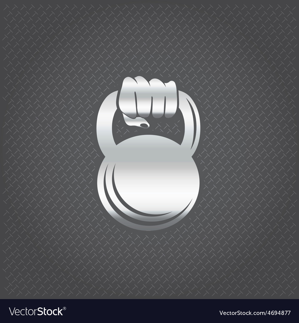 Silver hand holding kettlebell design template vector | Price: 1 Credit (USD $1)
