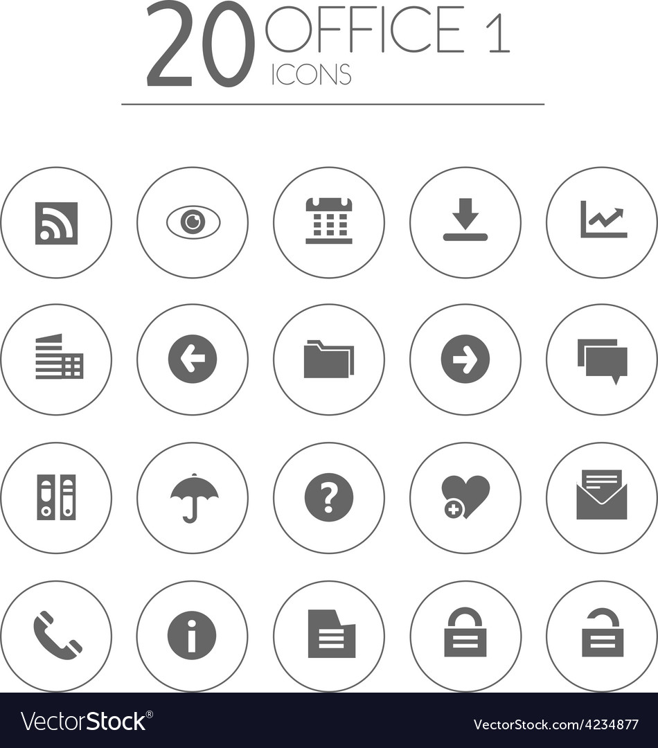 Simple thin office 1 icons collection on white vector | Price: 1 Credit (USD $1)