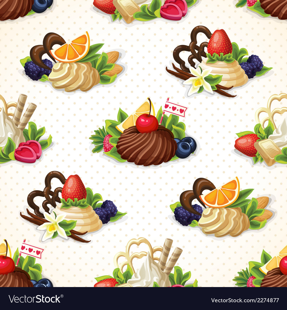 Sweets seamless background vector | Price: 3 Credit (USD $3)