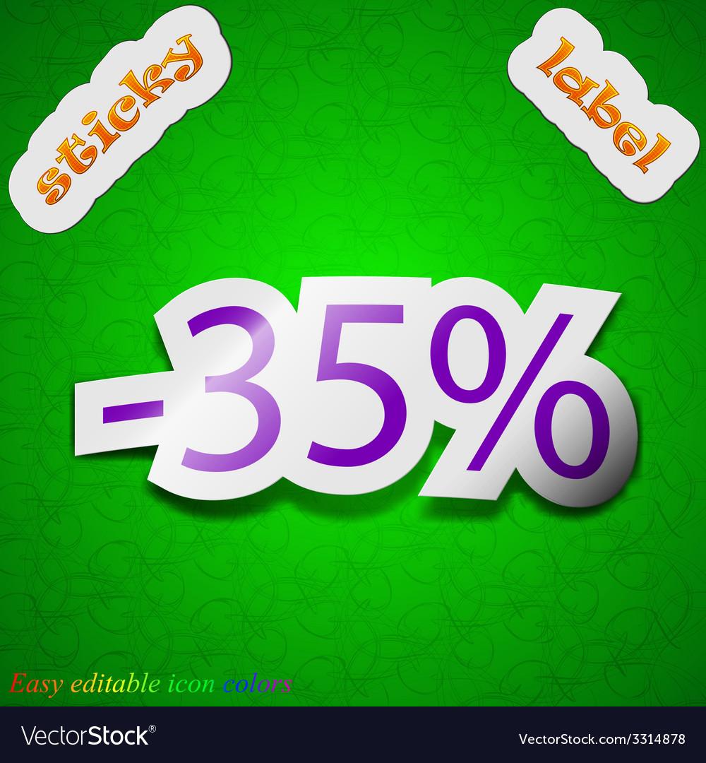35 percent discount icon sign symbol chic colored vector | Price: 1 Credit (USD $1)